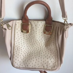 Steve Madden Crossbody Bag Cream Brown Accents